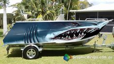 Monster Shark Boat Wrap Illustrated Graphic