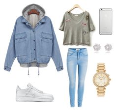 """""""School day #1"""" by ellii-123 ❤ liked on Polyvore featuring NIKE, Native Union, River Island and Michael Kors"""