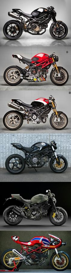 "One of the greatest aspects of the Ducati, especially the Monster, is the huge amount of accessories available to make every bike almost ""one-of-a-kind"" Ducati Motorcycles, Custom Motorcycles, Custom Bikes, Cars And Motorcycles, Custom Baggers, Yamaha Helmets, Ducati Custom, Custom Bmw, Vintage Motorcycles"
