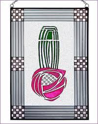 Striking new Charles Rennie Mackintosh Rose Art Glass Panel hand made in the USA with a color palette of Magenta, Green, Pinks, Greys, and Frosted Clear. Rose Art, Art Nouveau Design, Design Art, Rennie Mackintosh Jewellery, Charles Rennie Mackintosh Designs, Jugendstil Design, Stained Glass Designs, Arts And Crafts Movement, Quilting Projects