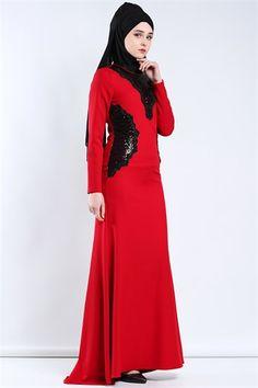 Pul Payet Detaylı Abiye Elbise (Kırmızı)