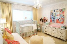 kbgdesign, baby room, nursery, baby girl, nursery ideas, daybed, painted furniture, wallpaper, crown moulding, drapery, baby room art, chandelier, erin gregory art, changing table, area rug, accessories
