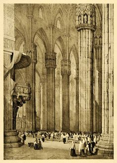 This is an original 1915 halftone print of an interior view of the gothic cathedral in Milan, Italy, which took nearly six centuries to complete, and remains the fourth largest cathedral in the world.