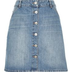 River Island Mid wash denim A-line button-up skirt (150 BRL) ❤ liked on Polyvore featuring skirts, sale, women, button up skirt, a line skirt, button down skirt, blue skirt and a line denim skirt