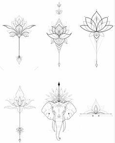 Mandala Tattoo Design, Flower Tattoo Designs, Flower Tattoos, Spine Tattoos, Body Art Tattoos, Tattoo Drawings, Tatto Floral, Mandala Elephant Tattoo, Temporary Tattoo Ink
