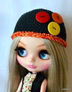 Blythe doll hat, handmade, crochet, black button hat ,Danish design #handmade #ClothingAccessories