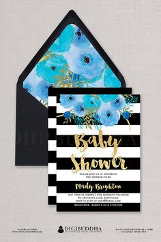 Black & White Baby Shower Invitations Kate Spade inspired striped boy baby shower invites with boho painterly blue watercolor flowers at digibuddha.com