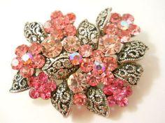 Vtg Pink Brooch Pin Flowers Round Rhinestones Silver Filigree Leaves Solder Back   eBay