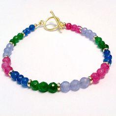 Jade Bracelet Jade Jewelry Pink Bracelet Blue by jewelrybycarmal, $32.00