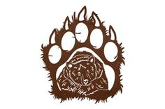 Grizzly Paw Wall Art - Cut from metal with CNC. This DXF file is designed for CNC Plasma, Laser, or waterjet machines.