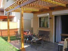 Pergola For Small Backyard House, Privacy Walls, Small Backyard, House Front, Roof Panels, Pergolas For Sale, Pergola Garage Door, Wooden Pergola, Exterior