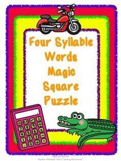 Four Syllable Words Magic Square Puzzle - $