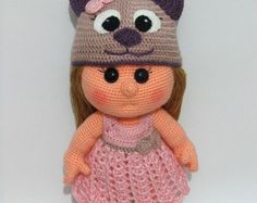 PATTERN - Mia Doll With Bear Hat and Dress  (crochet, amigurumi)