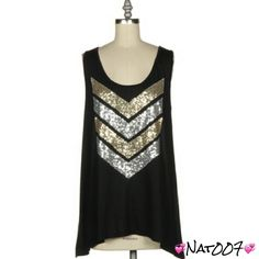 Gold and Silver Chevron Sequins Black Tank. This classy and chic solid scoop neck with a flare hem tank will surely turn heads when you wear it with a pair of tights or jeans. Perfect for summer. Dress it up with accessories or wear it just the way it is.  100% polyester. Fashionomics Tops Tank Tops