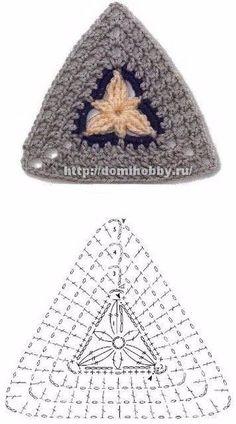 Transcendent Crochet a Solid Granny Square Ideas. Inconceivable Crochet a Solid Granny Square Ideas. Crochet Triangle Pattern, Crochet Motifs, Granny Square Crochet Pattern, Freeform Crochet, Crochet Diagram, Crochet Chart, Crochet Squares, Easy Crochet, Crochet Patterns
