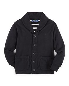 Jersey+Shawl-Collar+Jacket,+Polo+Black,+Size+2-7+by+Ralph+Lauren+Childrenswear+at+Neiman+Marcus.