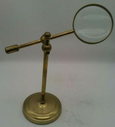 Vintage Brass Adjustable Swivel Magnifying Glass w/Stand Library Desk Hands Free Glass Top Desk, Writing Pens, Magnifying Glass, Desk Accessories, Desk Lamp, Solid Brass, Antique Brass, Office Desk, Hands