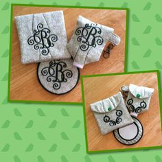 Quilted Mirror Set by EmbroideryStuff on Etsy