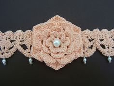 crocheted chokers | Cotton Crocheted Choker With Crochet Flower And Pearls, Ties, Peach ...