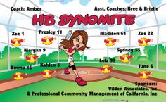 HB Dynomite digitally printed vinyl softball league sports team banner. Made in the USA and shipped fast by Banners USA. http://www.bannersusa.com/art/templates_2/digital/banners/vinyl-softball-team-banners.php