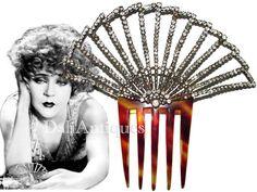 Free Shipping Art Deco Actress Mae Murray Very Large Jeweled Mantilla Fan Hair…
