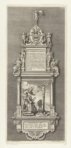 Cornelis Galle (II) | Monument ter ere van Johann Baptista von Tassis, 1588, Cornelis Galle (II), 1643 - 1645 | Monument opgericht ter ere van Johann Baptista von Tassis door zijn zoon, gesneuveld bij het beleg van Bonn op 26 april en begraven in Keulen op 12 mei 1588. Plakette met een schilderij van Tassis met Johannes de Doper knielend voor het kruisbeeld. Bovenaan een plakette met Latijnse inscriptie en versierd met allegorische figuren van deugden.