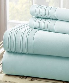 Loving this Blue Pin Tuck 1,000-Thread Count Sheet Set on #zulily! #zulilyfinds