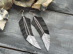 Black leather feather earrings. Feather earrings. by VelmaJewelry