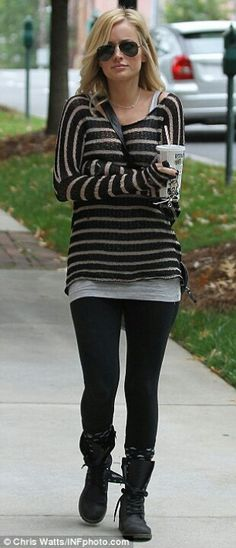 Emily Maynard-Love, love the boots, with sweater and larger T-shirt underneath! Glasses as well!!