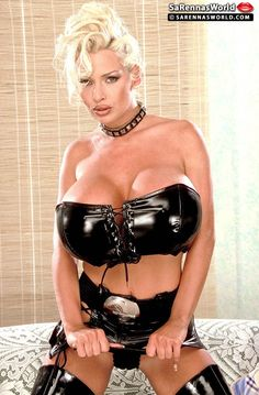 Busty blonde SaRenna Lee wearing kinky PVC Outfit. 2