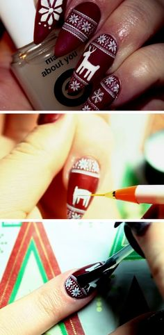 Matte Christmas Sweater Stiletto Nails | Click Pic for 20 Easy Christmas Nails Art Designs Winter | Easy Nails Designs for Short Nails