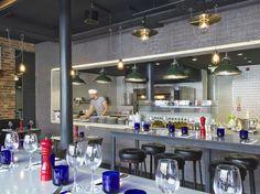 Pizza Express Spitalfields. Open Kitchen Restaurant, Pizza Express, Open Kitchens, Commercial Kitchen, Jade, Public, Crystal, Table Decorations, Interior