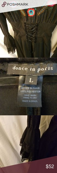 DANCE IN PARIS lace-up corsette dress,  size L Made in Brazil 100% polyester Size Large Velvet trimmed with lace.  Corsette bodice that laces up.  Embroidered followers on bodice. DANCE IN PARIS Dresses Midi