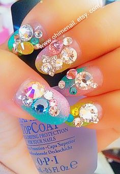 japanese nail art colorful glittery and star 3d nails by ohimenail