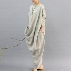 2017 100% Linen Robe women Original design cloth hemp color personality omen dress Long sleeved Casual flax Mori dress N121-in Dresses from Women's Clothing & Accessories on Aliexpress.com | Alibaba Group
