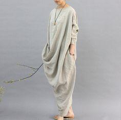 Купить товар2016 100% Белье Халат женщины Оригинальный дизайн ткань конопли цвет личности…