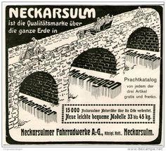 Original-Werbung/Inserat/ Anzeige 1912 - NSU  NECKARSULMER FAHRRADWERKE - ca. 150 X 180 mm
