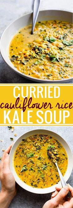 "This Curried Cauliflower Rice Kale Soup is one flavorful healthy soup to keep you warm this season. An easy paleo soup recipe for a nutritious meal-in-a-bowl. Roasted curried cauliflower ""rice"" with kale and even more veggies to fill your bowl! A delicious vegetarian soup to make again again! Vegan and Whole30 friendly! @Lindsay Dillon - Cotter Crunch"