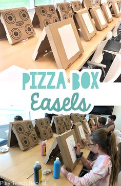 Pizza Box Art Easels Recycled Crafts Kids, Fun Crafts, Crafts For Kids, Creative Activities, Creative Kids, Painting Activities, Painting Classes, Toddler Crafts, Toddler Activities