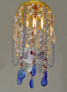 """Gorgeous! Vintage 8""""x 16"""" Czech. Bohemian Glass Ruby Red OVERLAY Basket CHANDELIER blue bead/ CRYSTAL accents"""