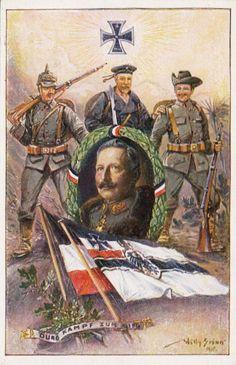 WW 1 German East Africa propaganda willy stower art postcard