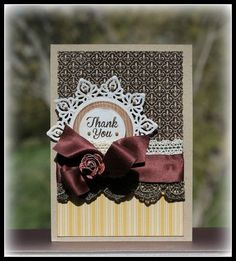 JustRite Thank You card designed by Julie Overby using Fleur de Lis Background Stamps and Spring Words.