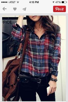 Flannel shirt w/ black pencil skirt
