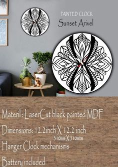 Vintage wooded abstract Wall Clock #great #design #decoration #lasercut  #TimeCraft Clock Painting, E Craft, Vintage Wood, Laser Cutting, Clocks, Hanger, Abstract, Decoration, Wall
