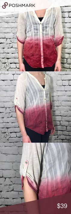 Anthropologie Tiny Ombre Popover Top Anthropologie's Tiny brand pink and white Ombre Button Down popover style Blouse. Dip-dyed styling. Has a relaxed Boho chic top. Button roll up sleeves. Perfect for spring and summer. Cotton silk blend. Anthropologie Tops