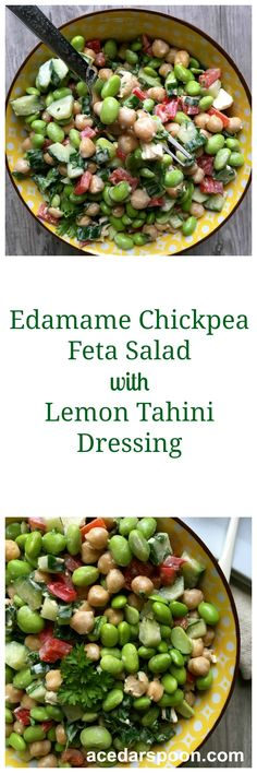 Edamame Chickpea Feta Salad with Lemon Tahini Dressing is a fresh, nutritious salad of edamame, chickpeas and topped with fresh parsley and a creamy lemon tahini dressing // A Cedar Spoon