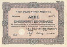 Actien-Brauerei Neustadt Magdeburg Aktie 100 RM 1942
