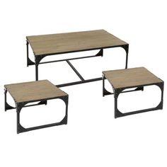Mesas nido para salón de centro Modelo Toronto. Tres mesas auxiliares con estructura de hierro y encimera de madera de abeto acabado envejecido.      Medidas grande: 70 x 120 x 45 cm     Medidas pequeñas: 60 x 60 x 40 cm