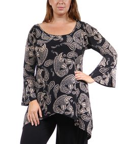 30 Loving this Black Paisley Scoop Neck Sidetail Top - Plus on #zulily! #zulilyfinds