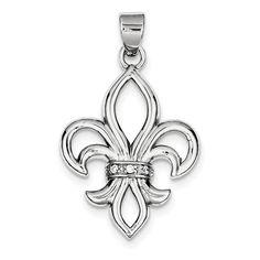 Sterling Silver Rhodium-platedCZ Fleur de Lis Pendant